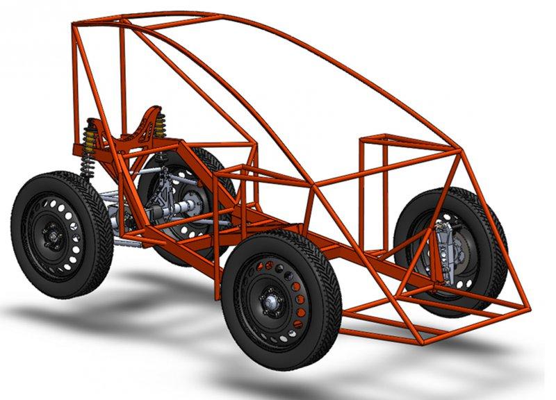 3D-модель рами, підвіски і трансмісії економічного електромобіля ZEUS