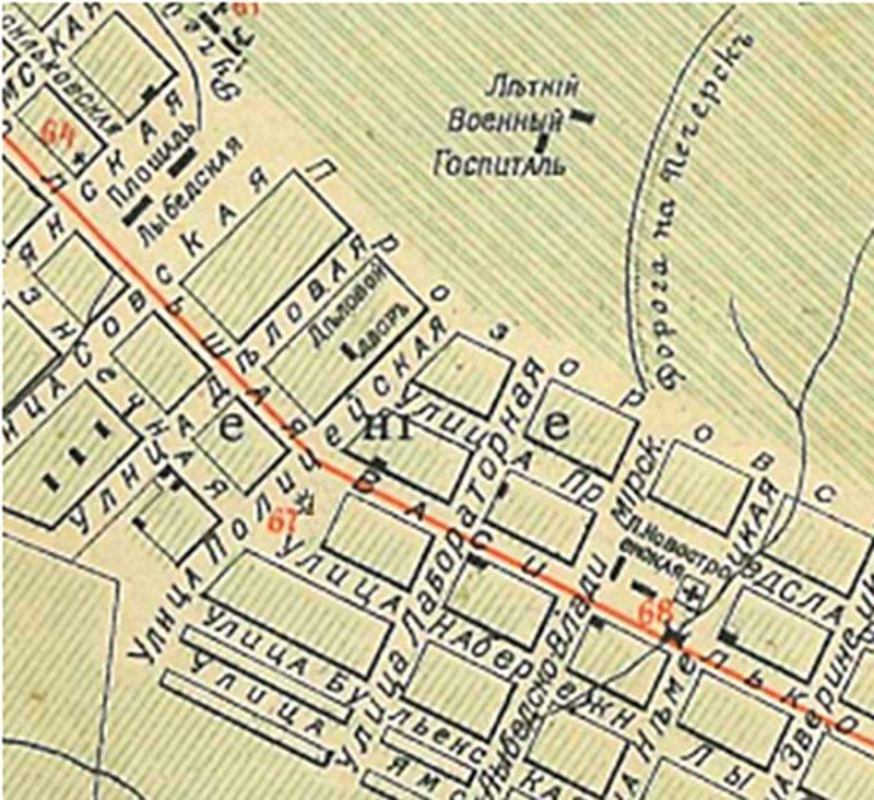 Лабораторна вулиця, Троїцька (Либідська) - Володимирська (Новостроїнська) площа на плані міста Києва 1900 року