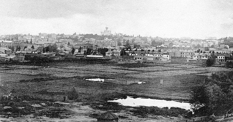 Арештантські городи. Початок ХХ століття. Вид з боку залізниці (стара листівка)
