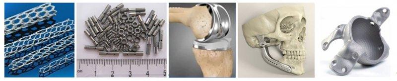 Зовнішній вигляд стентів (а), деталей кардіостимуляторів (б), протезу коліна (в), протезу нижньої щелепи (г) та протезу ацетабулярної чашечки (д)