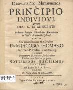 Метафізична диспутація про принцип індивідуума, 1663 р.