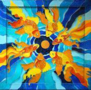 Сонячні риби, скло, вітражна фарба, 2015 р.